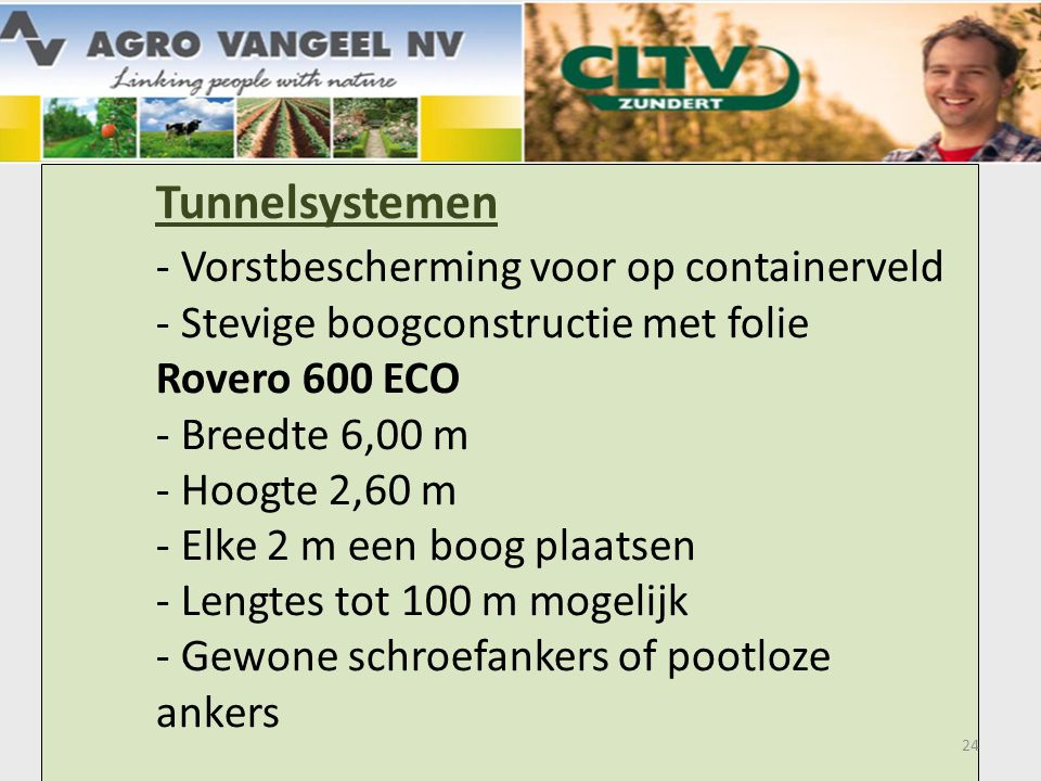 Tunnelsystemen. - Vorstbescherming voor op containerveld
