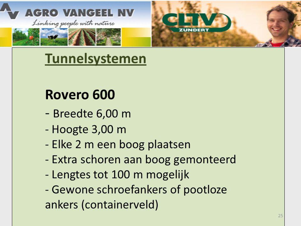 Tunnelsystemen. Rovero 600. - Breedte 6,00 m. - Hoogte 3,00 m