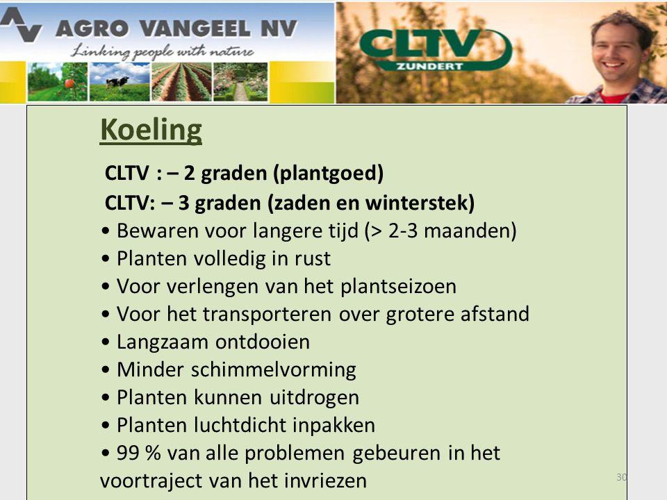 Koeling. CLTV : – 2 graden (plantgoed)