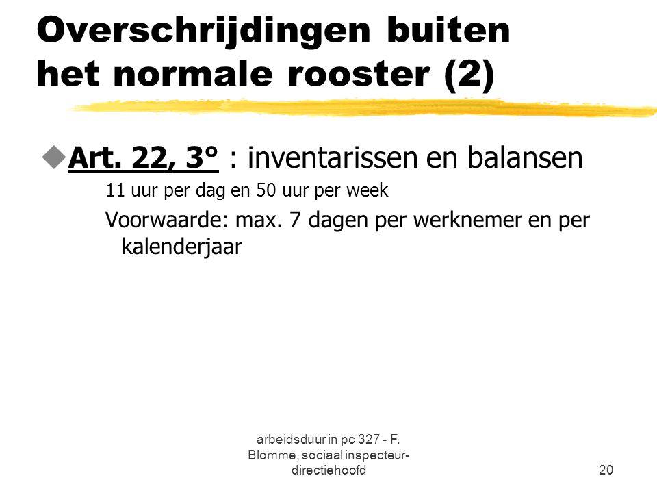 Overschrijdingen buiten het normale rooster (2)