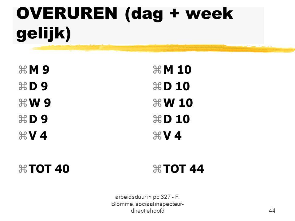 OVERUREN (dag + week gelijk)