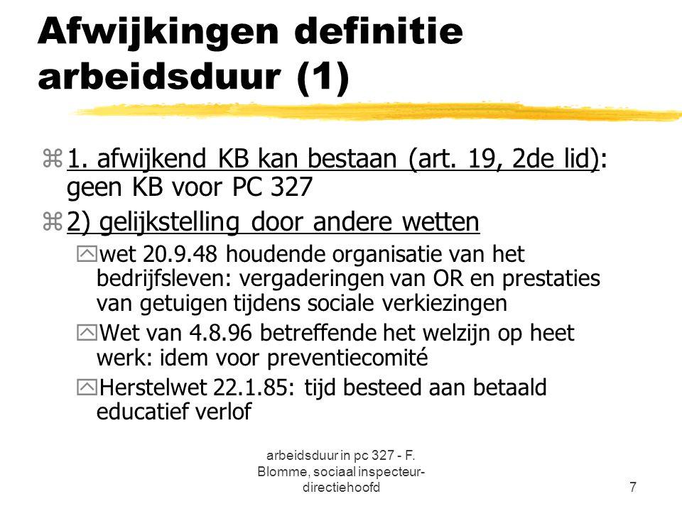 Afwijkingen definitie arbeidsduur (1)