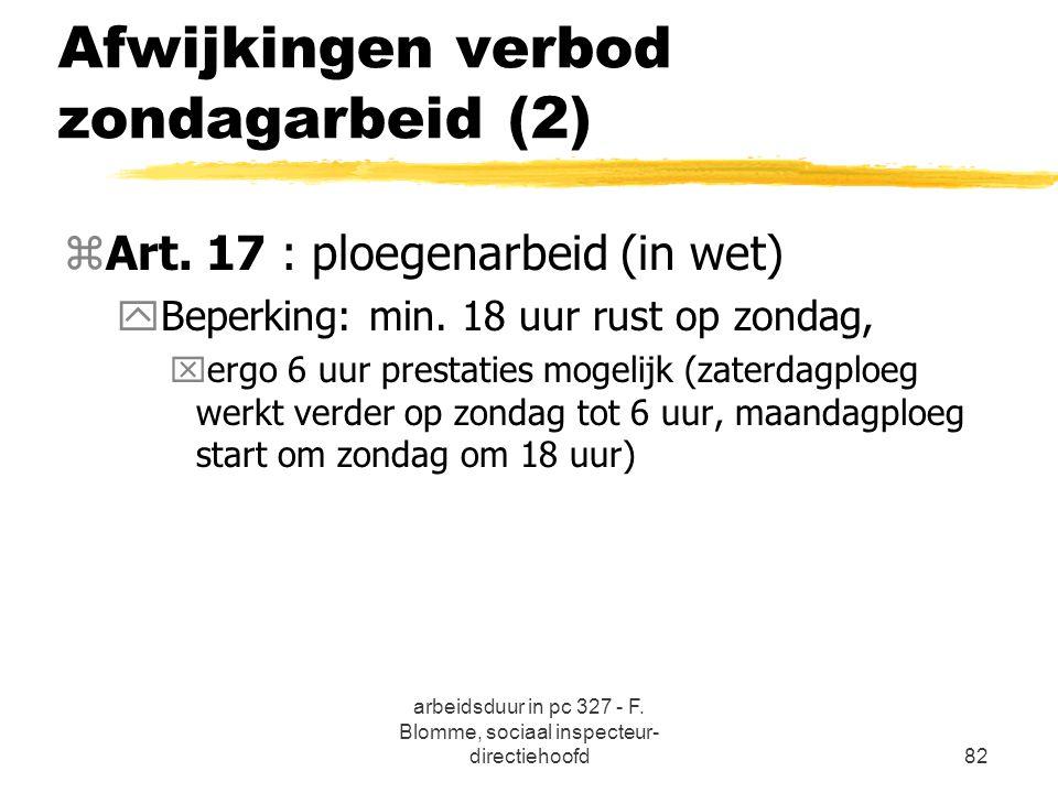 Afwijkingen verbod zondagarbeid (2)