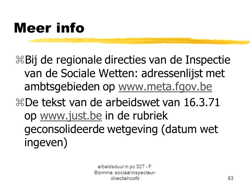 arbeidsduur in pc 327 - F. Blomme, sociaal inspecteur-directiehoofd