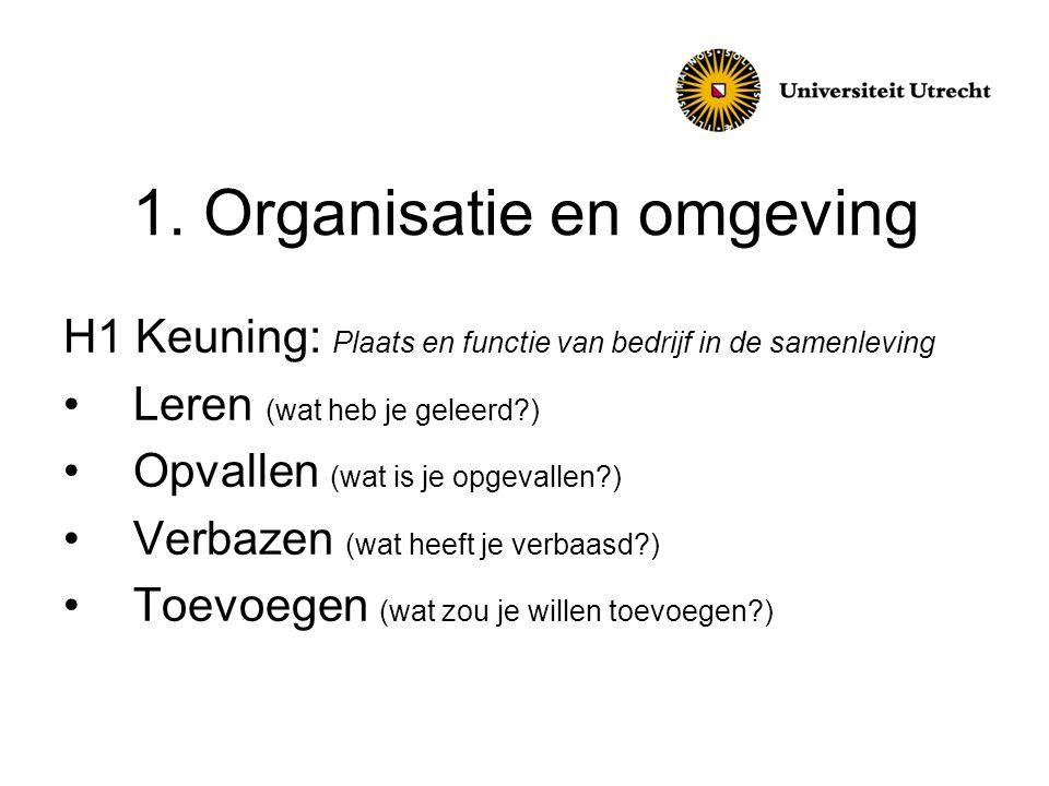 1. Organisatie en omgeving
