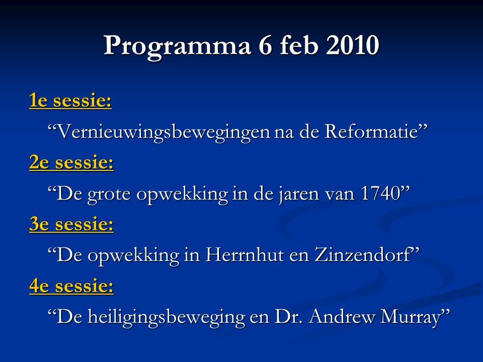 Programma 6 feb 2010 1e sessie: