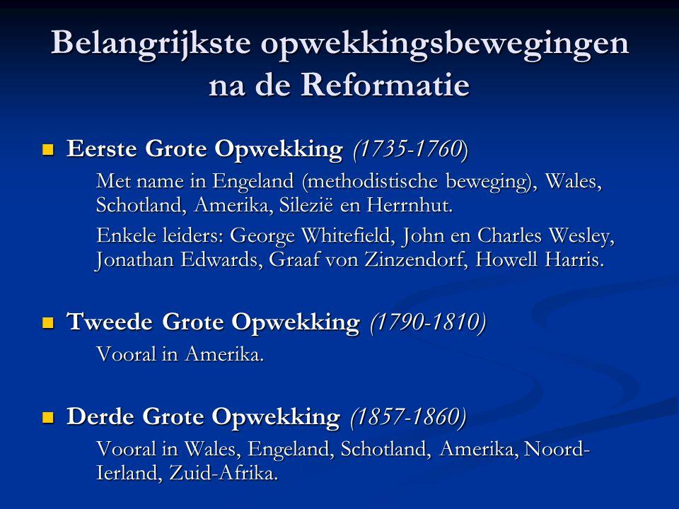 Belangrijkste opwekkingsbewegingen na de Reformatie