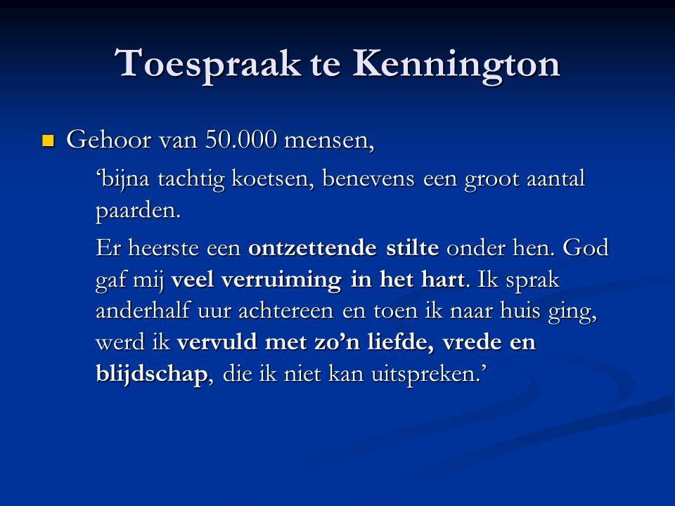 Toespraak te Kennington