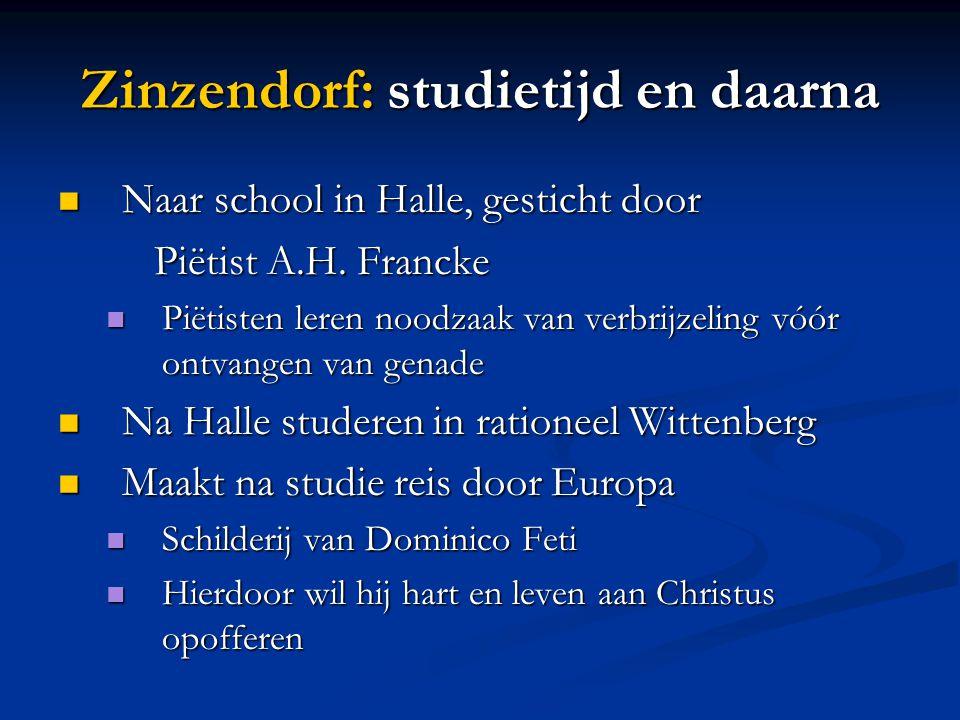 Zinzendorf: studietijd en daarna