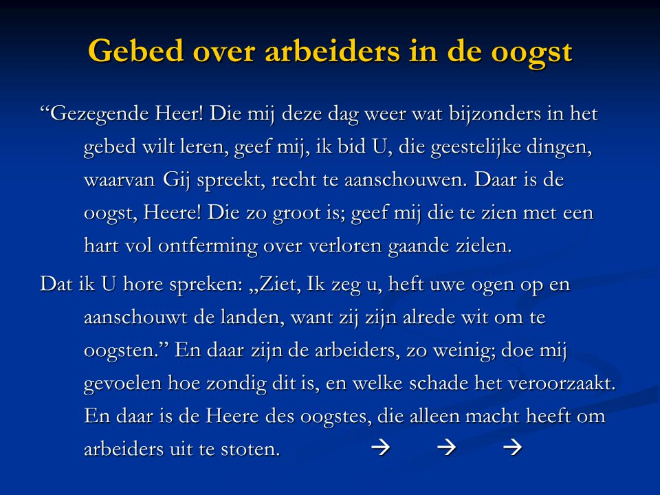 Gebed over arbeiders in de oogst
