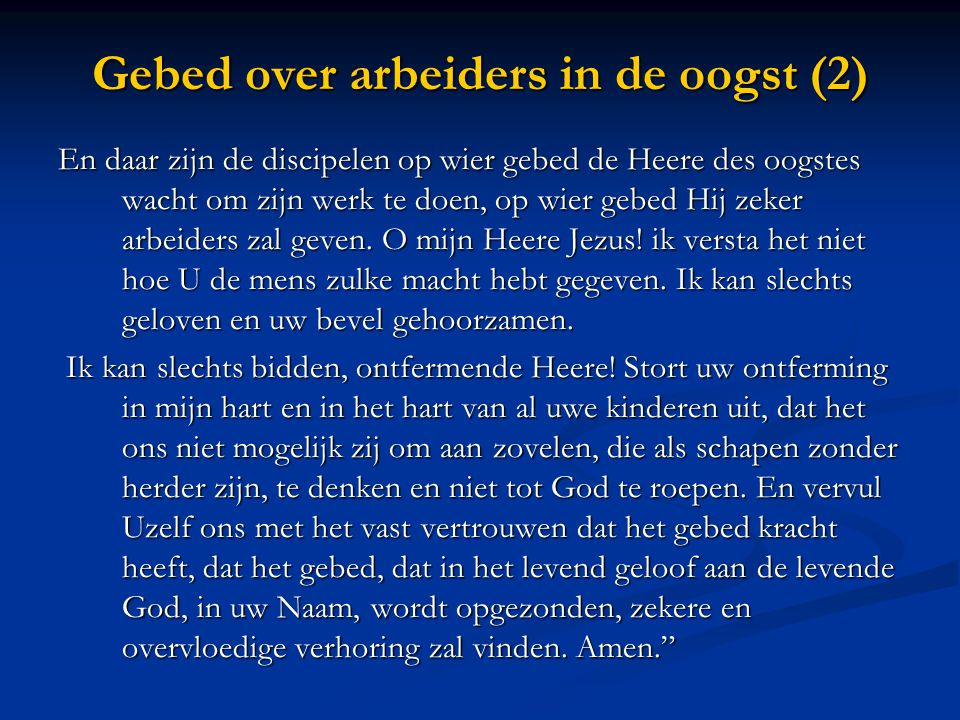 Gebed over arbeiders in de oogst (2)