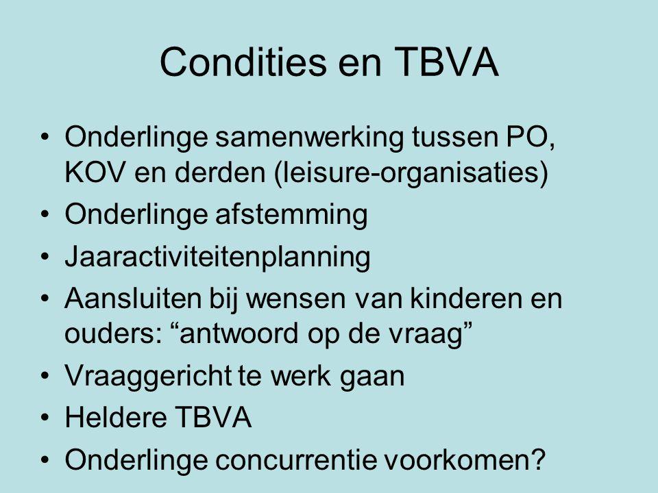Condities en TBVA Onderlinge samenwerking tussen PO, KOV en derden (leisure-organisaties) Onderlinge afstemming.