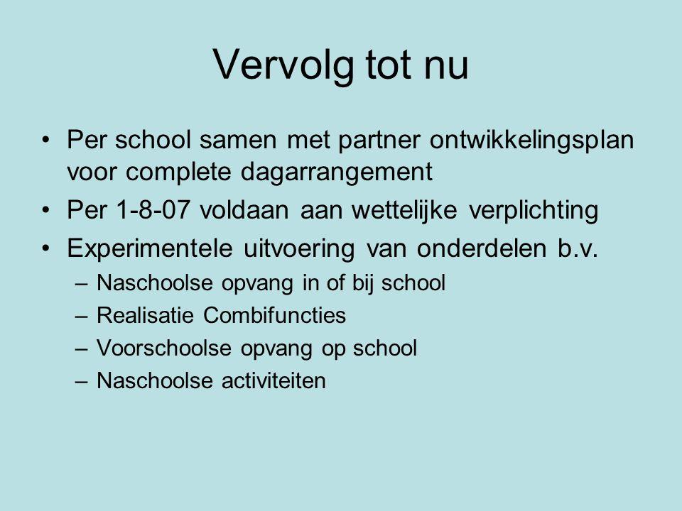 Vervolg tot nu Per school samen met partner ontwikkelingsplan voor complete dagarrangement. Per 1-8-07 voldaan aan wettelijke verplichting.
