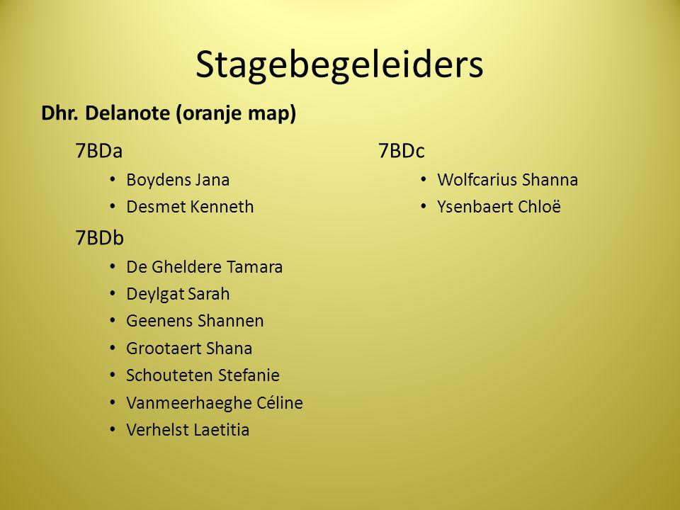 Stagebegeleiders Dhr. Delanote (oranje map) 7BDa 7BDb 7BDc