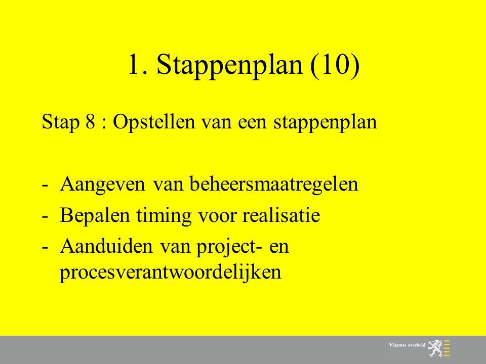 1. Stappenplan (10) Stap 8 : Opstellen van een stappenplan
