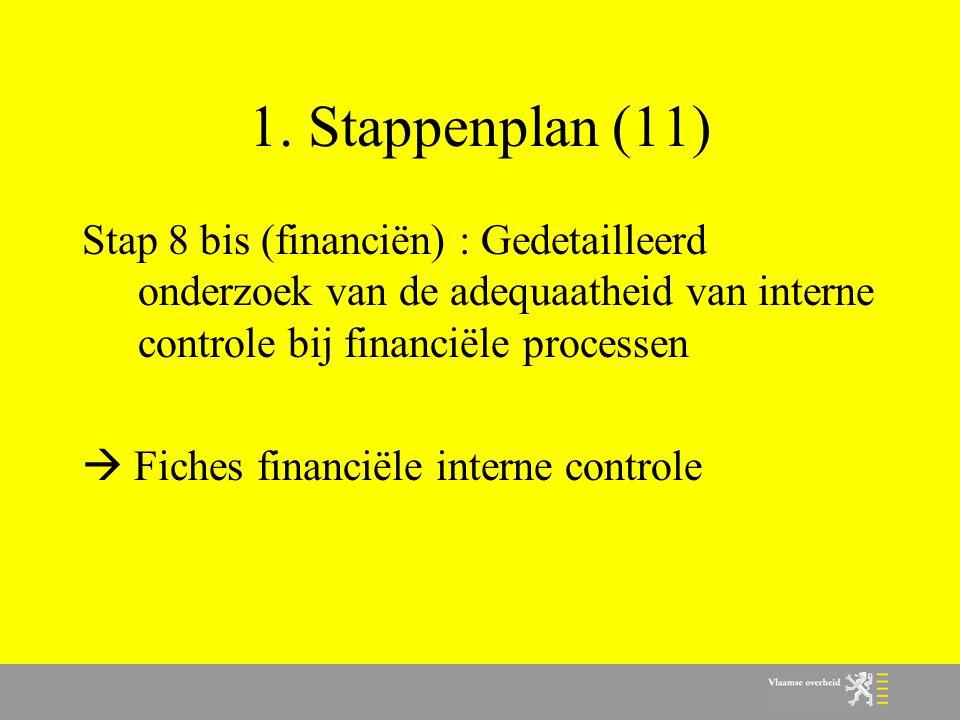 1. Stappenplan (11) Stap 8 bis (financiën) : Gedetailleerd onderzoek van de adequaatheid van interne controle bij financiële processen.