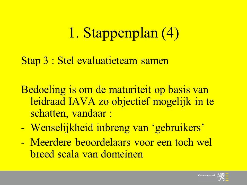 1. Stappenplan (4) Stap 3 : Stel evaluatieteam samen