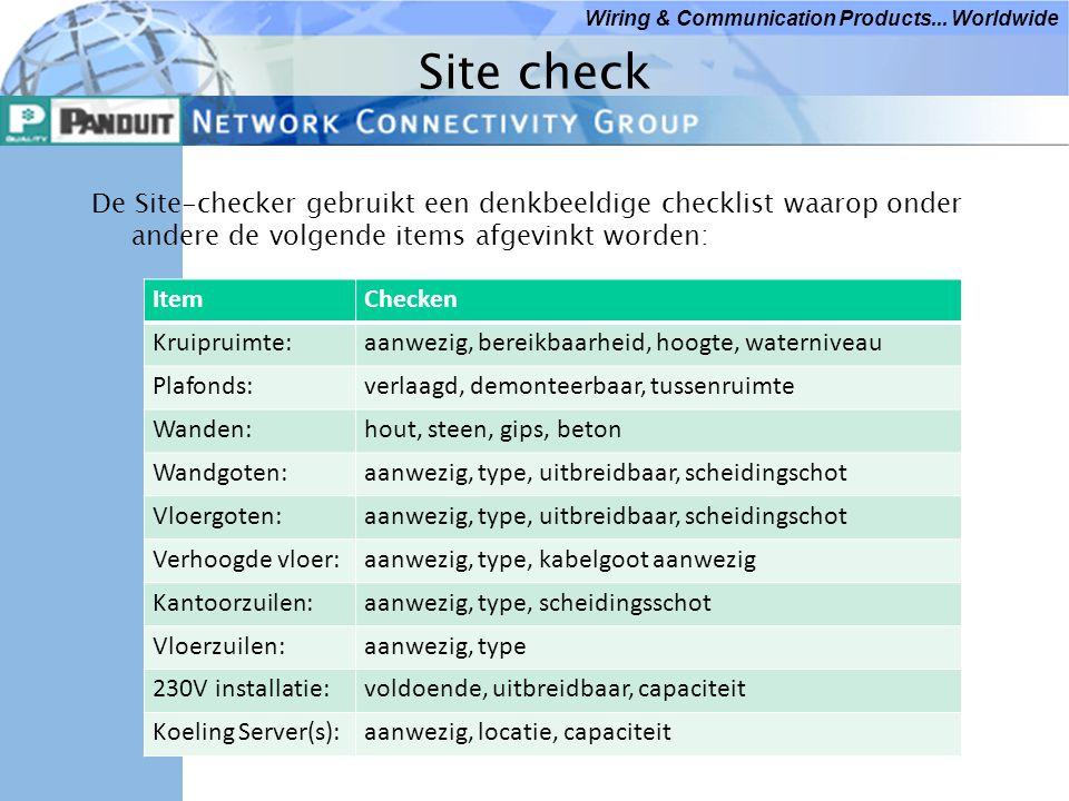 Site check De Site-checker gebruikt een denkbeeldige checklist waarop onder andere de volgende items afgevinkt worden: