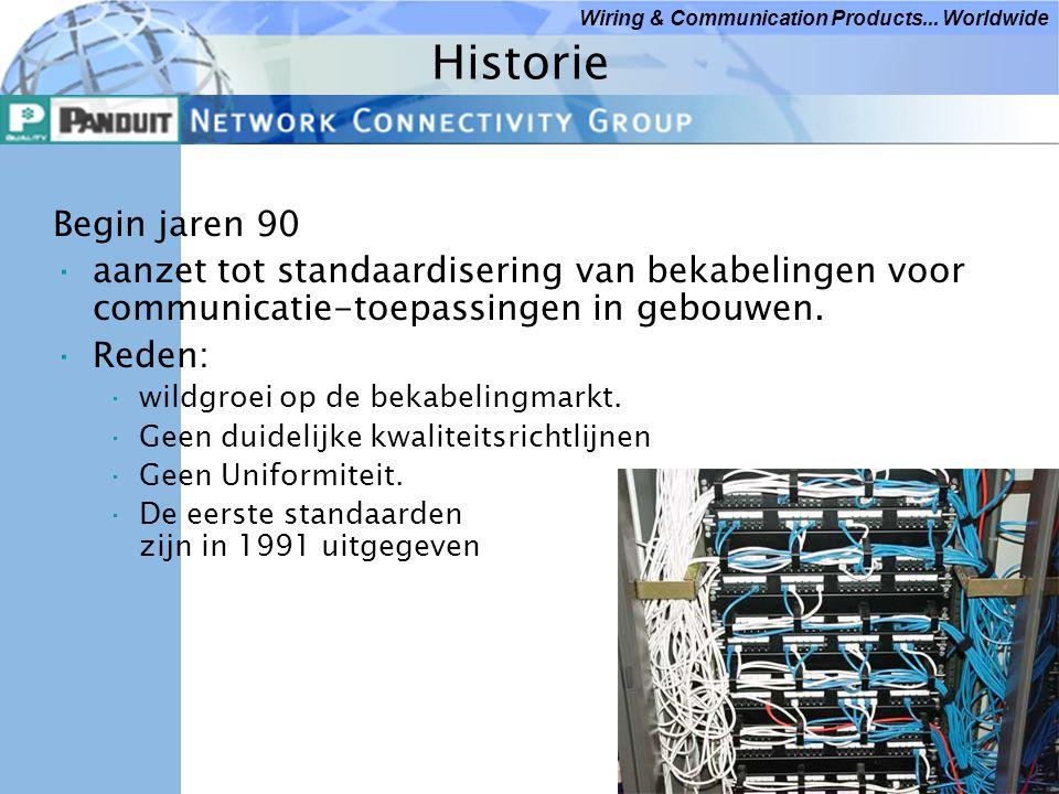 Historie Begin jaren 90. aanzet tot standaardisering van bekabelingen voor communicatie-toepassingen in gebouwen.