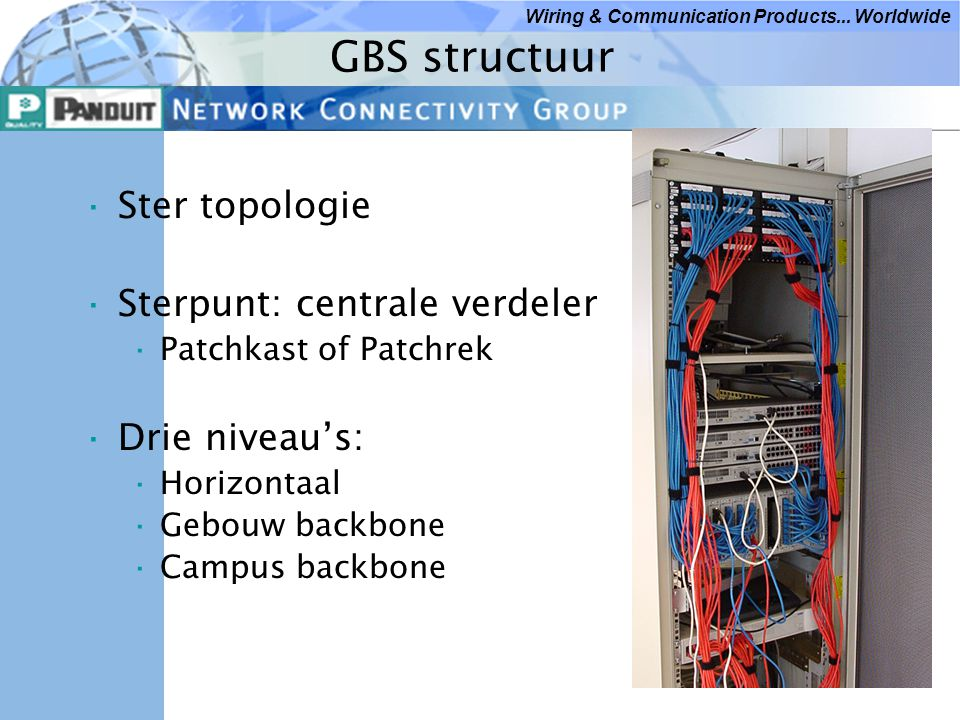 GBS structuur Ster topologie Sterpunt: centrale verdeler