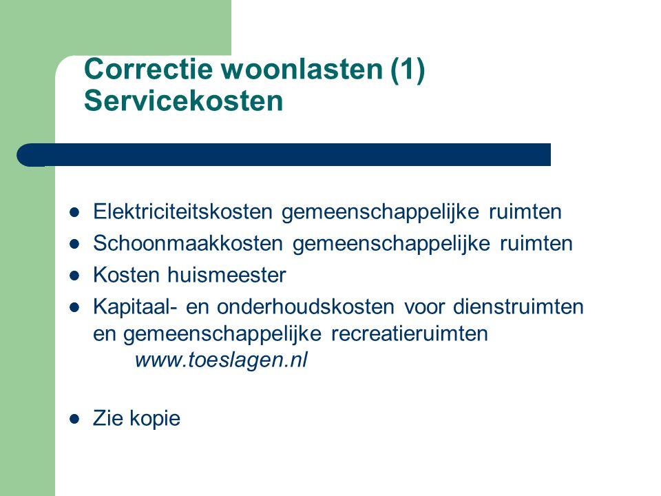 Correctie woonlasten (1) Servicekosten