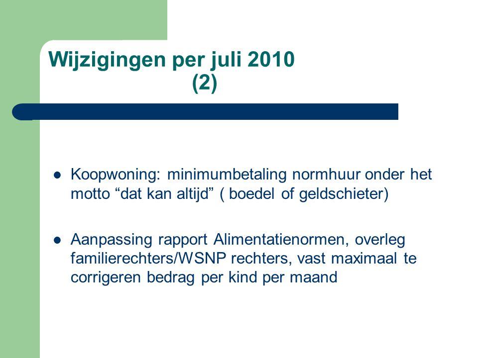 Wijzigingen per juli 2010 (2)