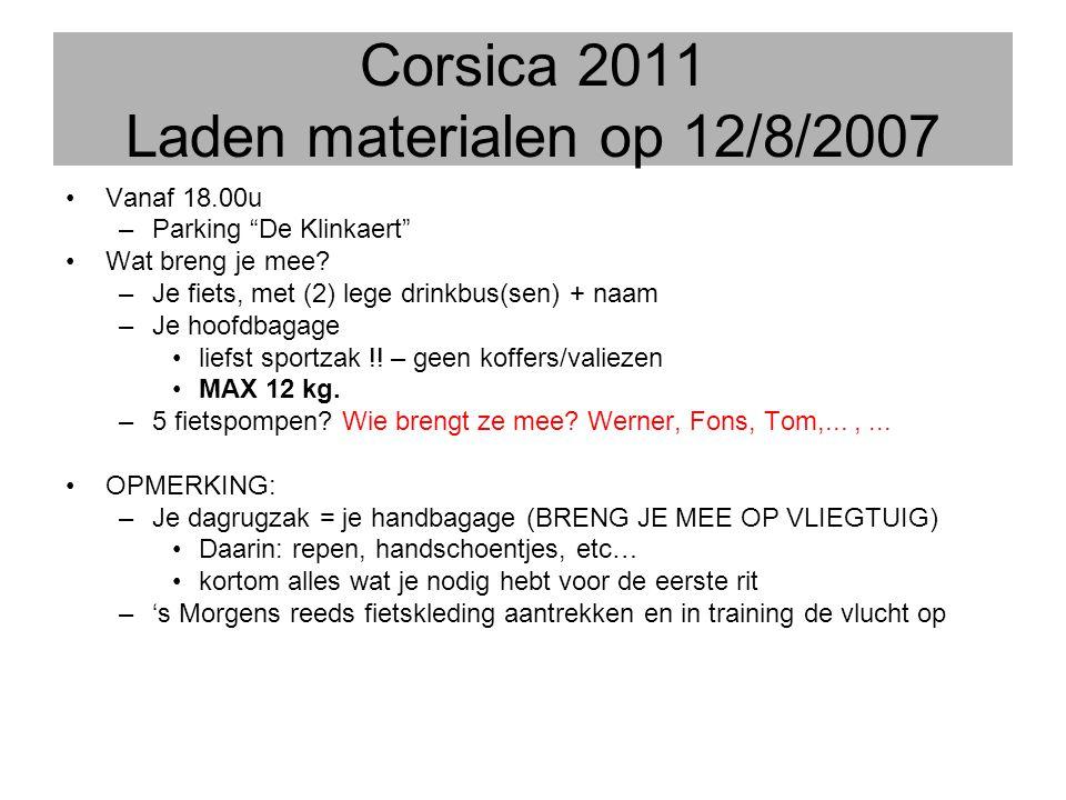 Corsica 2011 Laden materialen op 12/8/2007
