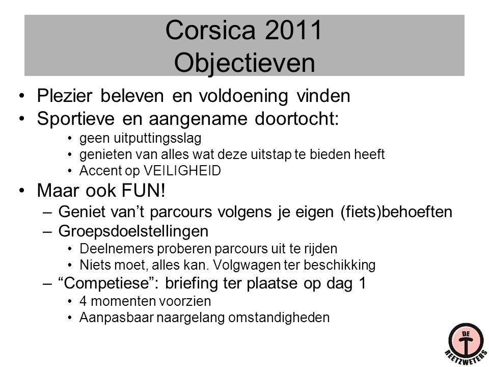 Corsica 2011 Objectieven Plezier beleven en voldoening vinden