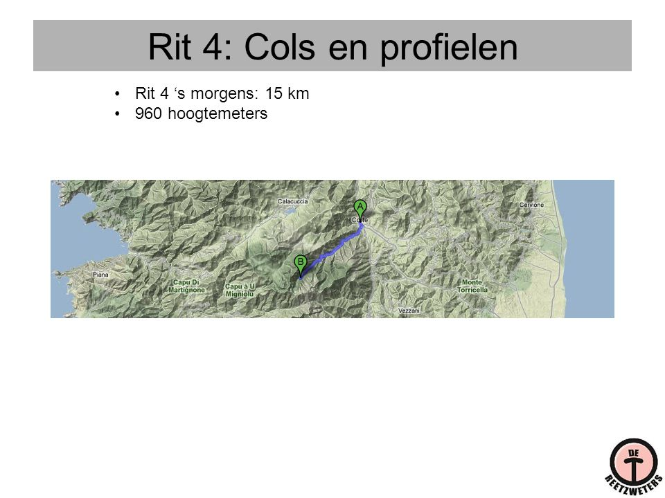 Rit 4: Cols en profielen Rit 4 's morgens: 15 km 960 hoogtemeters