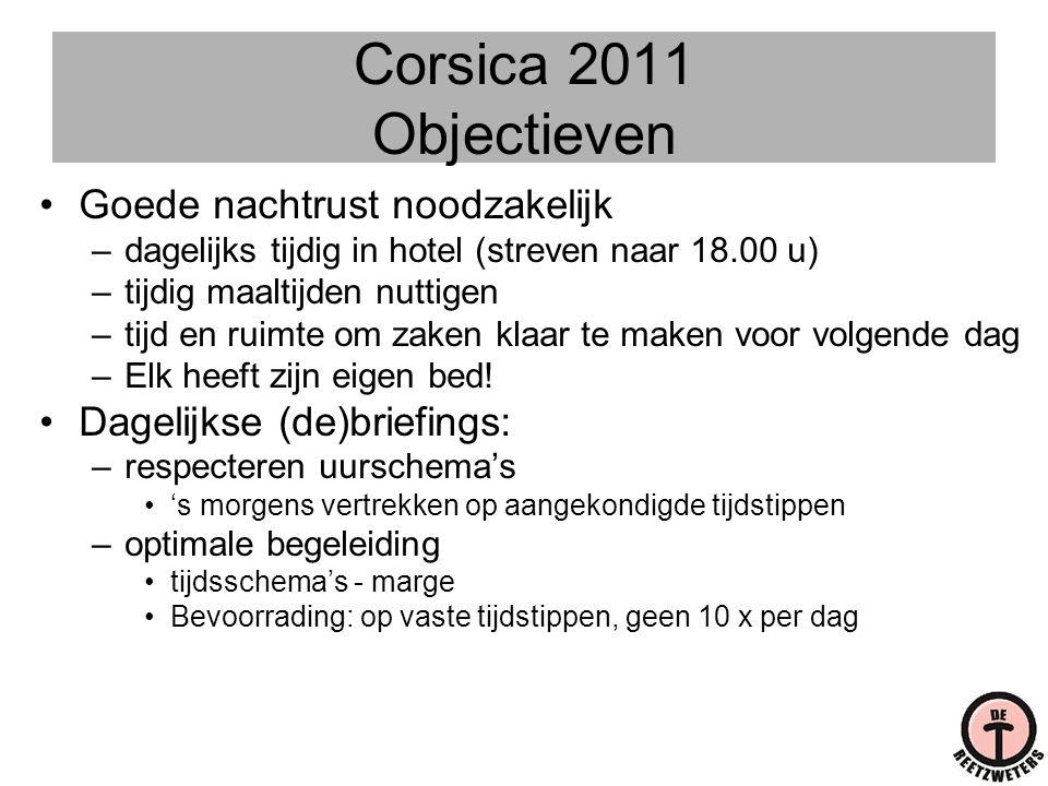 Corsica 2011 Objectieven Goede nachtrust noodzakelijk