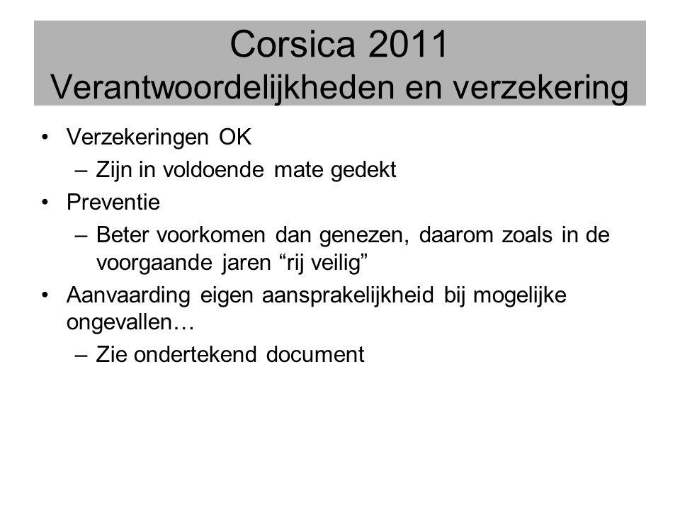Corsica 2011 Verantwoordelijkheden en verzekering