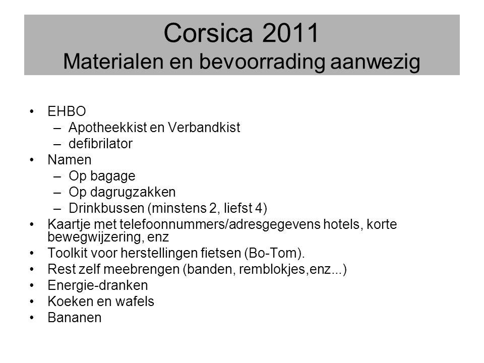 Corsica 2011 Materialen en bevoorrading aanwezig
