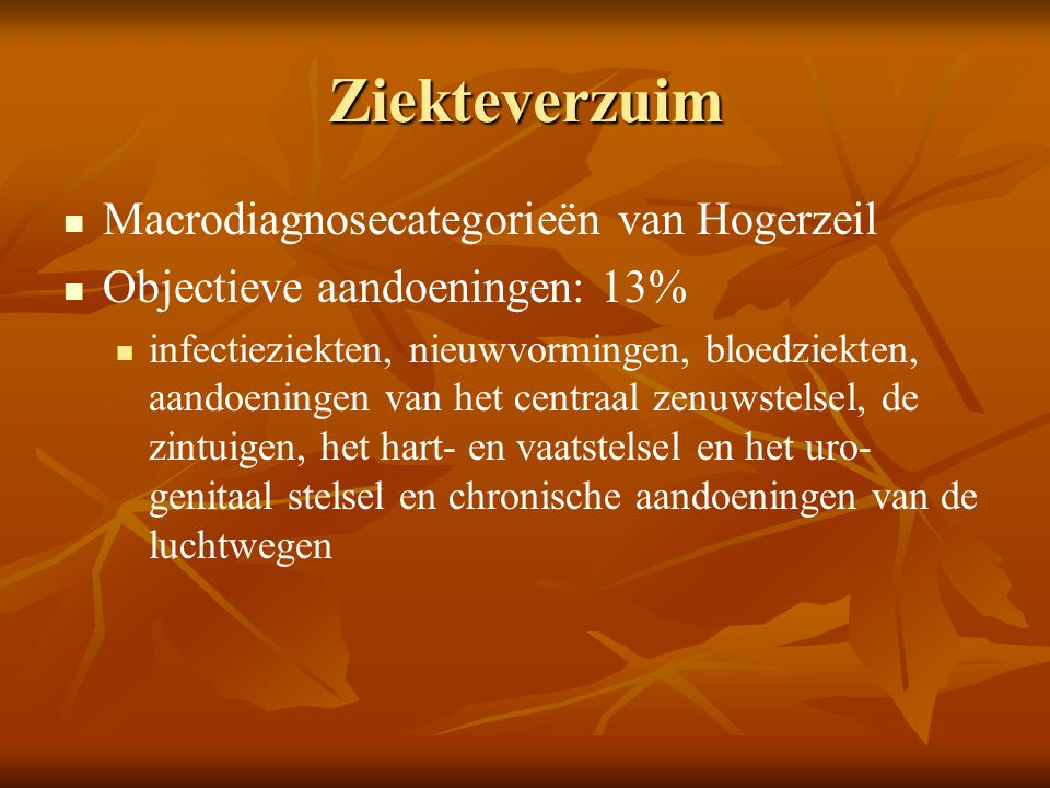 Ziekteverzuim Macrodiagnosecategorieën van Hogerzeil