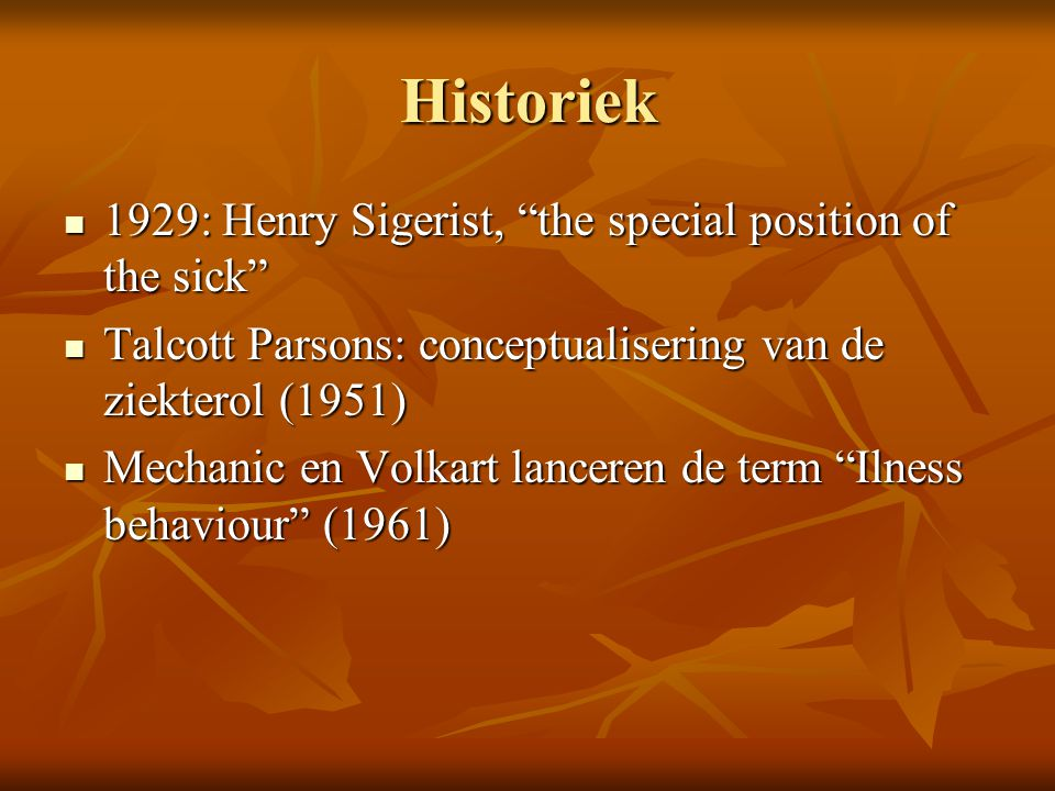 Historiek 1929: Henry Sigerist, the special position of the sick