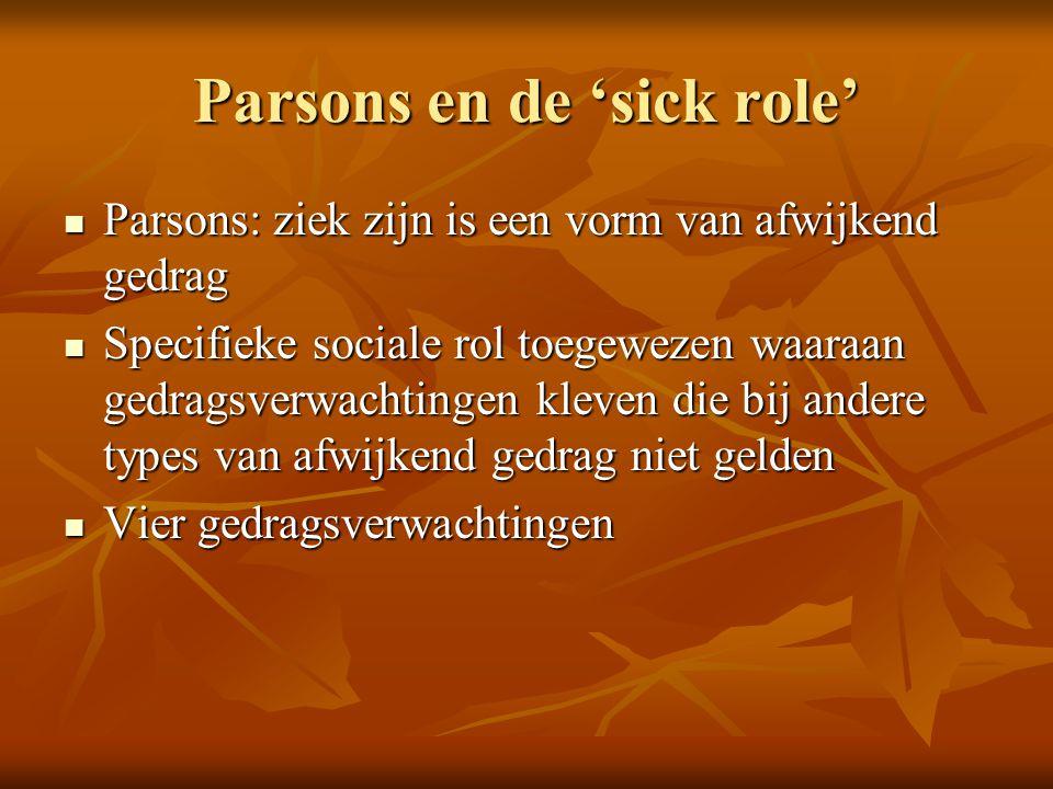 Parsons en de 'sick role'