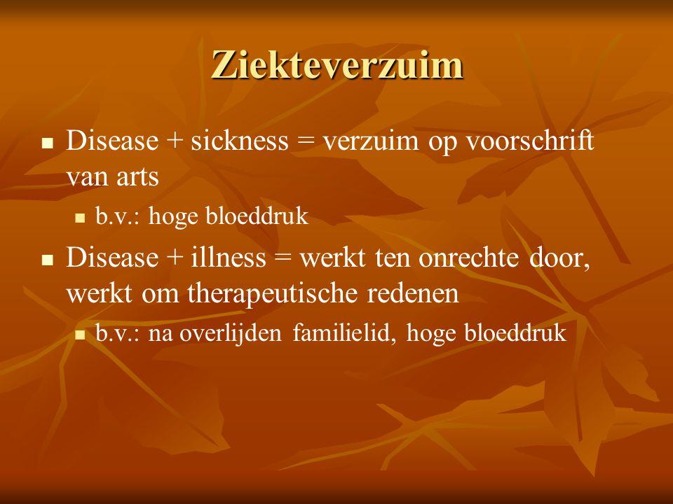 Ziekteverzuim Disease + sickness = verzuim op voorschrift van arts