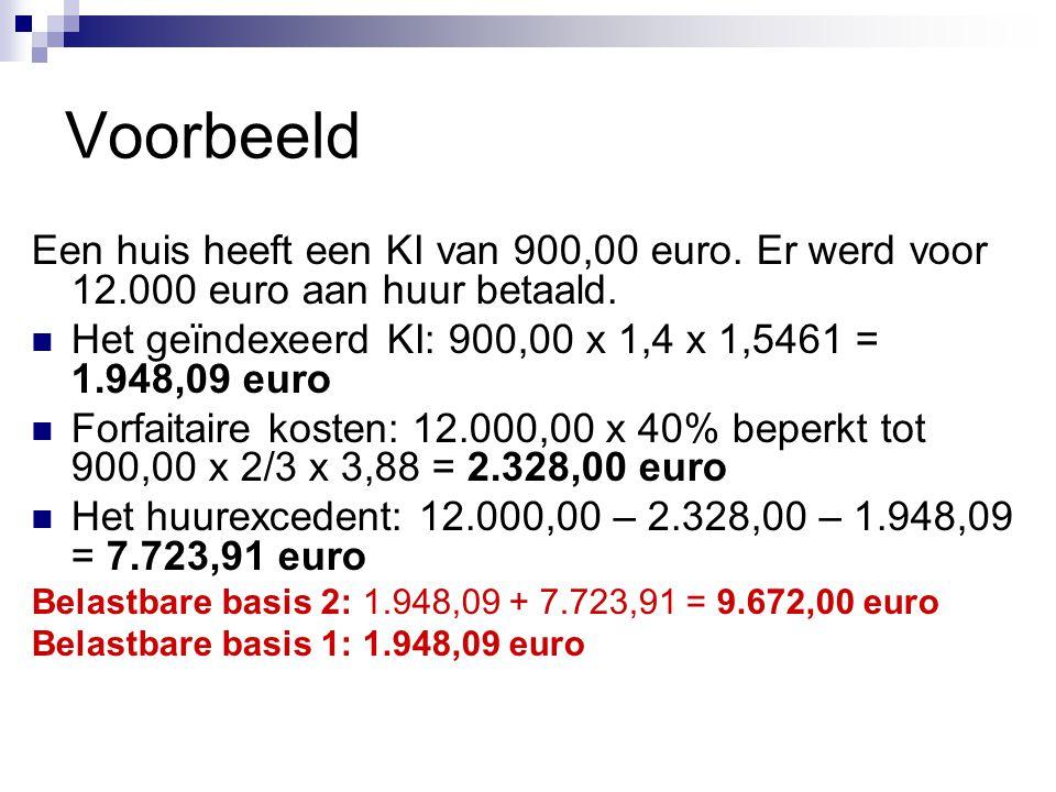 Voorbeeld Een huis heeft een KI van 900,00 euro. Er werd voor 12.000 euro aan huur betaald.