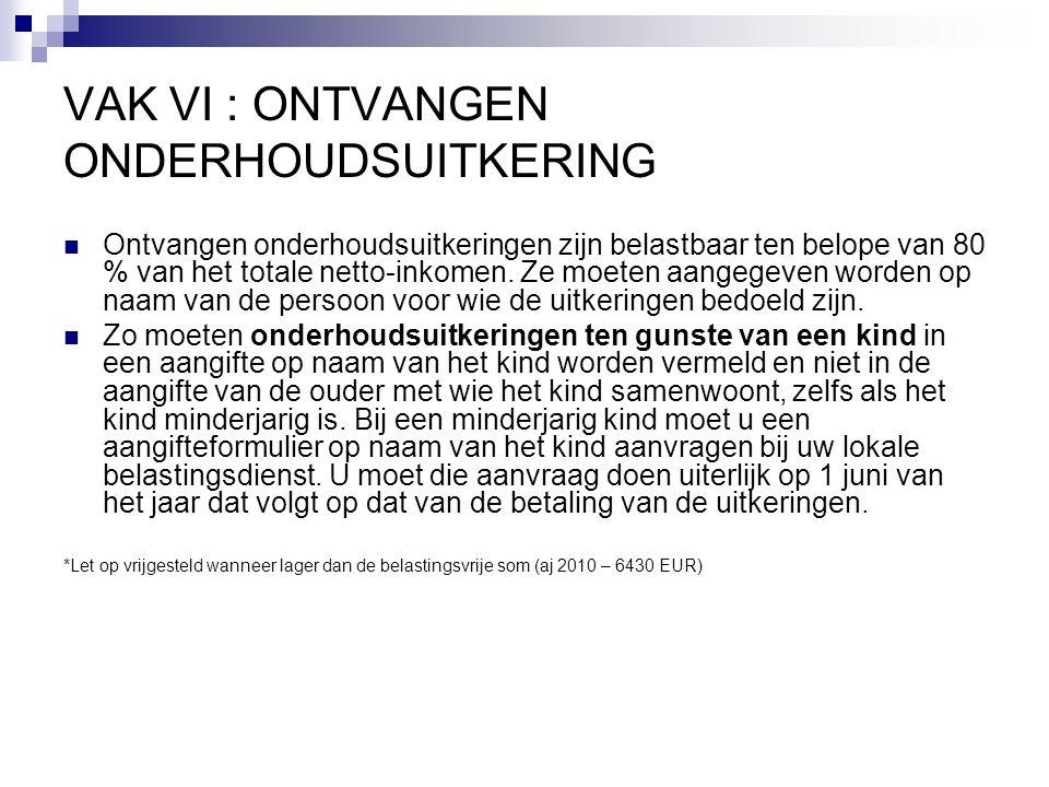 VAK VI : ONTVANGEN ONDERHOUDSUITKERING