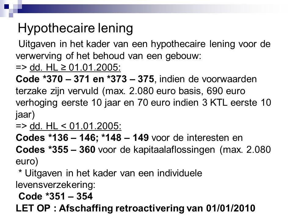 Hypothecaire lening Uitgaven in het kader van een hypothecaire lening voor de. verwerving of het behoud van een gebouw: