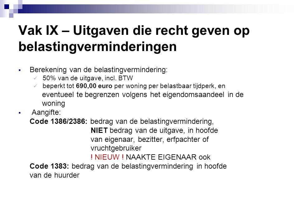 Vak IX – Uitgaven die recht geven op belastingverminderingen