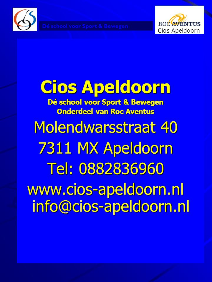 Dé school voor Sport & Bewegen Onderdeel van Roc Aventus