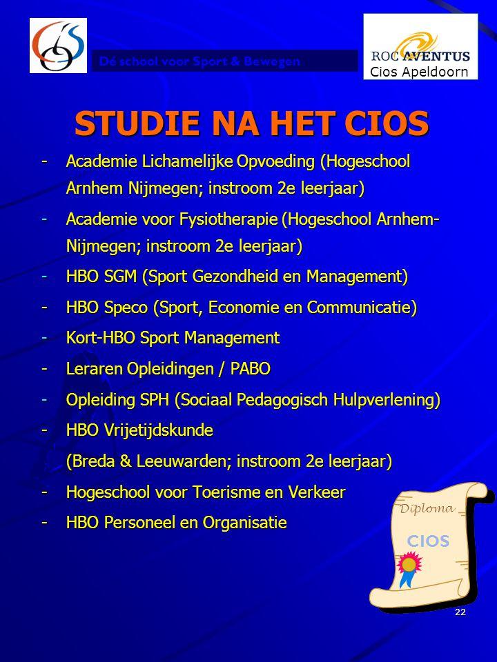 STUDIE NA HET CIOS - Academie Lichamelijke Opvoeding (Hogeschool Arnhem Nijmegen; instroom 2e leerjaar)