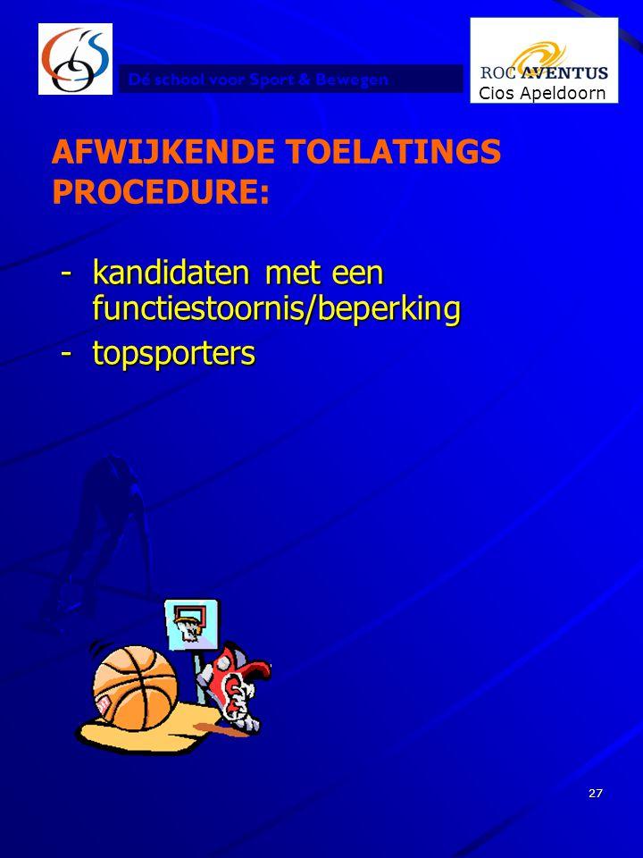 AFWIJKENDE TOELATINGS PROCEDURE: