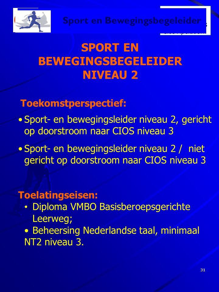 SPORT EN BEWEGINGSBEGELEIDER NIVEAU 2