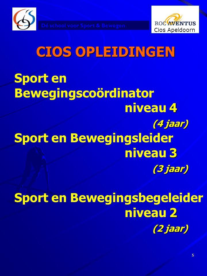 CIOS OPLEIDINGEN Sport en Bewegingscoördinator niveau 4 (4 jaar)