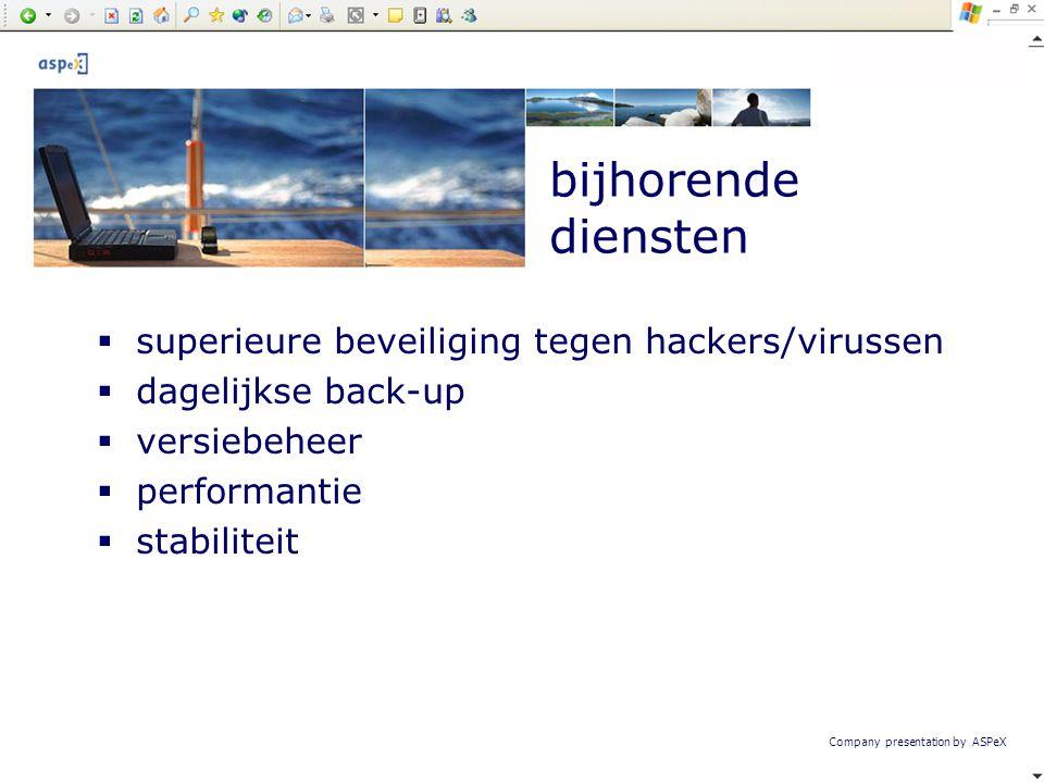 bijhorende diensten superieure beveiliging tegen hackers/virussen