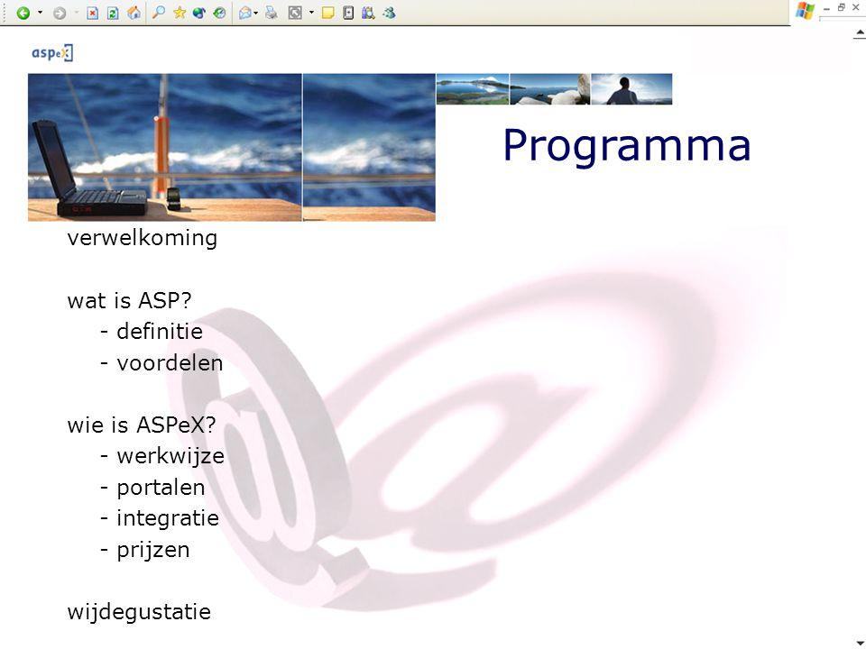 Programma verwelkoming wat is ASP - definitie - voordelen