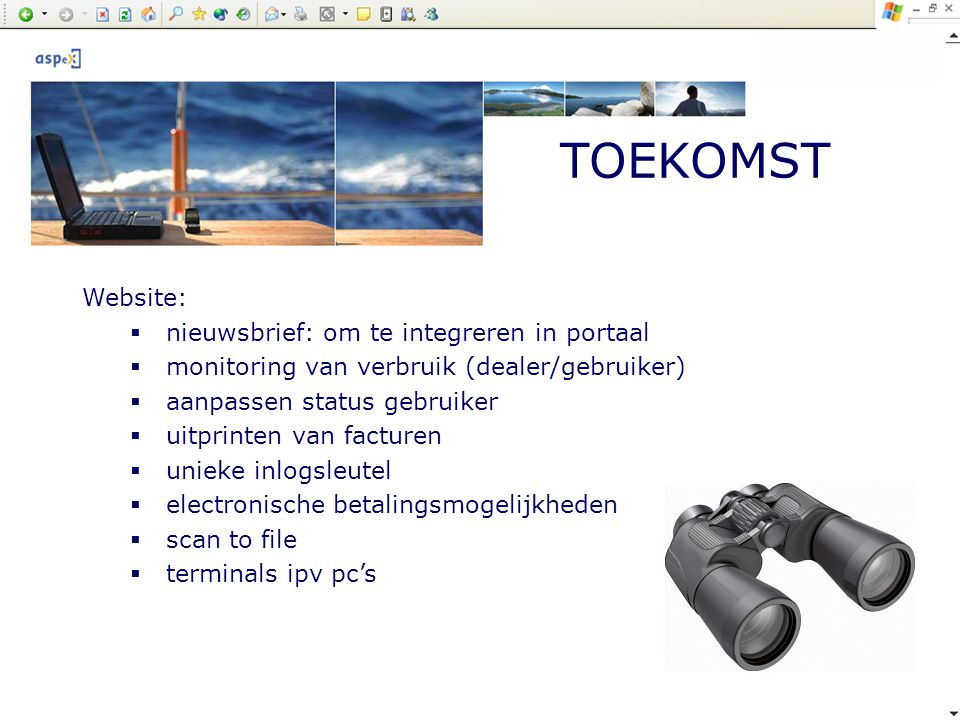 TOEKOMST Website: nieuwsbrief: om te integreren in portaal