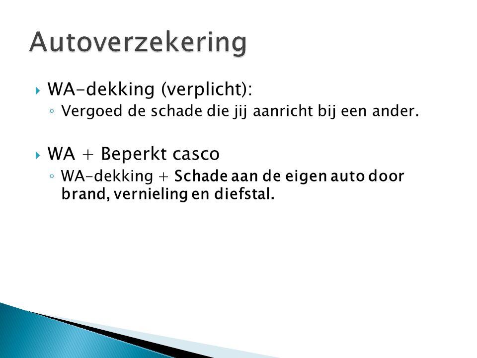 Autoverzekering WA-dekking (verplicht): WA + Beperkt casco