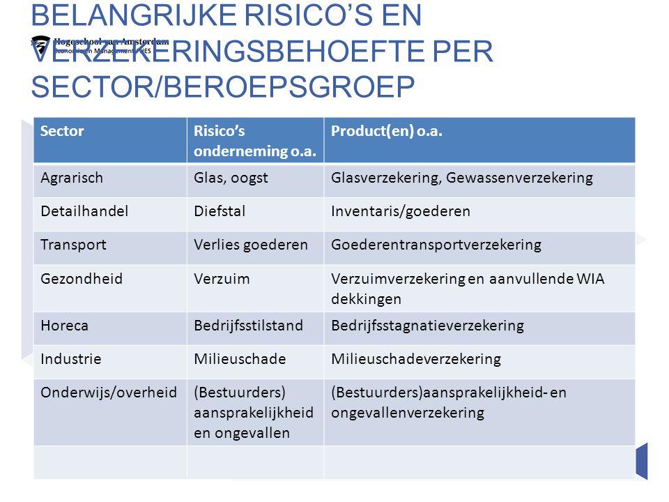 Belangrijke risico's en verzekeringsbehoefte per sector/beroepsgroep